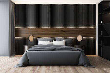 Interior of modern bedroom with white, dark wood and gray walls, wooden floor, king size bed with two round bedside tables and black wardrobe. 3d rendering