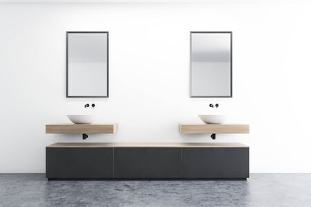 Interior of modern bathroom with white walls, concrete floor, double sink with mirrors above it and gray cabinet. 3d rendering Reklamní fotografie