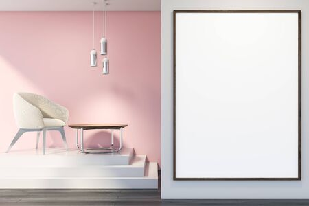 Interior of living room with pink and white walls, dark wooden floor, white armchair standing on stairs near round coffee table and vertical mock up poster in foreground. 3d rendering Reklamní fotografie