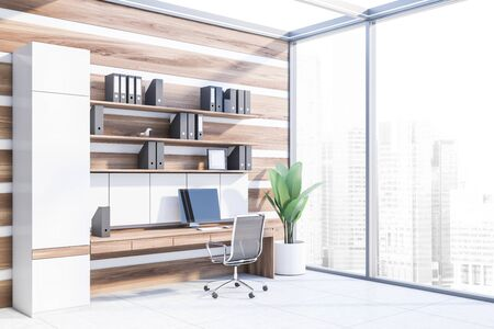 Corner of office workplace with white and wooden walls, concrete floor, wooden computer table with shelves with folders above it and metal chair. 3d rendering