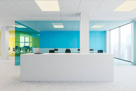 Interior of modern office with blue and yellow glass walls, concrete floor, white reception desk with laptop, meeting room and open space area. 3d rendering