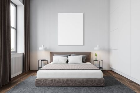 Interior of modern bedroom with white walls, wooden floor with carpet, windows with curtains, comfortable king size bed and vertical mock up poster. 3d rendering Reklamní fotografie