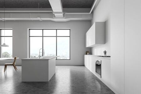 Side view of modern kitchen with white walls, concrete floor, white countertops with built in cooker and oven and bar with stools. 3d rendering