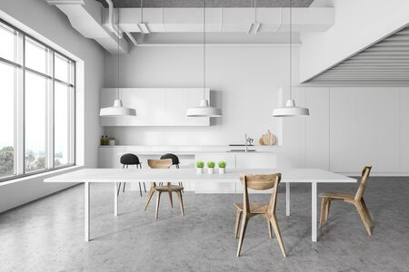 Interior of modern kitchen with white walls, concrete floor, white countertops and cupboards, bar with stools and white dining table with chairs. 3d rendering