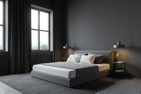 Corner of modern bedroom with grey walls, concrete floor with carpet, windows with curtains and comfortable king size bed. 3d rendering
