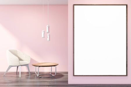 Interior of living room with pink walls, dark wooden floor, white armchair standing near round coffee table and vertical mock up poster frame. 3d rendering Reklamní fotografie