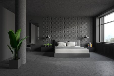 Interior of stylish bedroom with gray geometric pattern walls, concrete floor, king size bed with gray bedside tables and dark grey armchair near mirror. 3d rendering 写真素材
