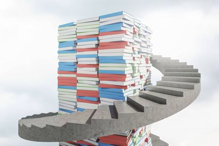 Piles of blue, red and green books with spiral staircase around them. Concept of knowledge and education. 3d rendering Stock Photo