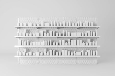 Front view of white supermarket shelves with products in mock up bottles and boxes. Concept of trade and business. 3d rendering