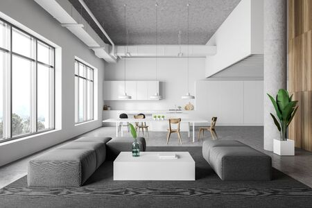 Interior of modern kitchen and living room with white walls, concrete floor, white countertops, bar with stools, dining table and gray sofas near coffee table. 3d rendering