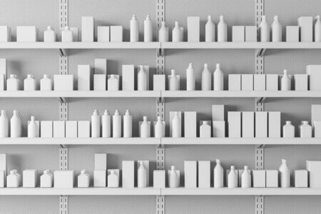 Close up of white supermarket shelves with products in mock up bottles and boxes. Concept of trade and business. 3d rendering