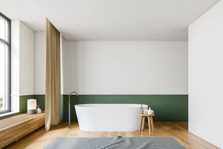 Interior of minimalistic bathroom with white and green walls, wooden floor, comfortable white bathtub with carpet near it and beige curtains. 3d rendering