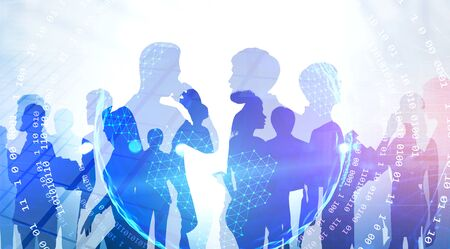 Silhouettes of diverse business people over skyscraper background with double exposure of planet hologram and network interface. Concept of internet connection. Toned image Stock Photo