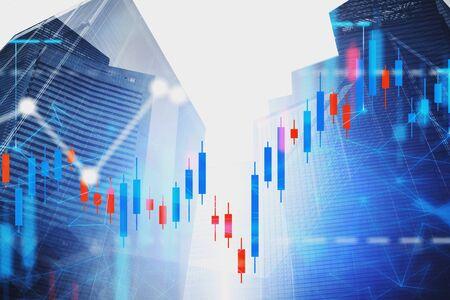 Finanzdiagramme und Netzwerkhologramm über modernem Stadthintergrund mit Wolkenkratzern. Konzept des Handels und der Börse. Doppelbelichtung des getönten Bildes