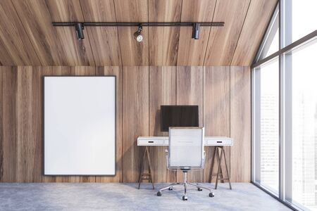 Interior of attic home office with wooden walls, concrete floor, computer table with white chair and vertical mock up poster frame. Concept of freelance job. 3d rendering Stock Photo