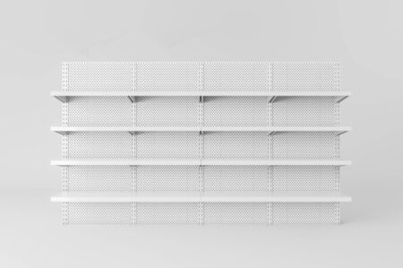 Front view of empty white metal supermarket shelves. Concept of trade and business. 3d rendering Stock Photo