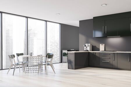 Corner of panoramic kitchen with gray walls, wooden floor, gray countertops, green cupboards, bar with stools and stylish round dining table with chairs. 3d rendering