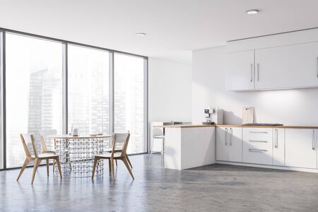 Corner of panoramic kitchen with white walls, concrete floor, white countertops and cupboards, bar with stools and stylish round dining table with chairs. 3d rendering