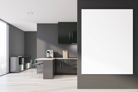 Interior of modern kitchen with gray walls, wooden floor, gray countertops, green cupboards, bar with stools and cabinet in the background. Vertical mock up poster. 3d rendering Banco de Imagens