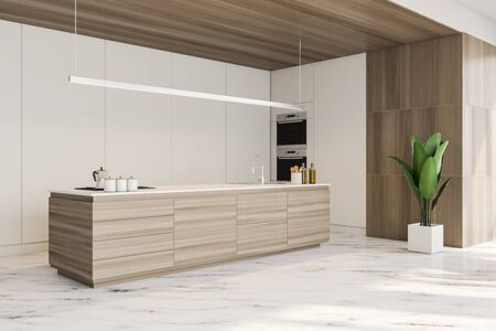 Corner of stylish kitchen with white and wooden walls, marble floor, wooden island with built in sink and cooker and two ovens. 3d rendering
