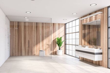 Interior of spacious bathroom with wooden walls, tiled floor, large window, double sink with big mirror above it and walk in shower with glass walls. 3d rendering