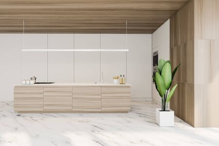 Interior of stylish kitchen with white and wooden walls, marble floor, wooden island with built in sink, two ovens and potted plant. 3d rendering