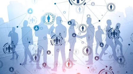 Silhouettes of diverse business people working in modern city with double exposure of HUD social network interface. Concept of HR and international company. Toned image