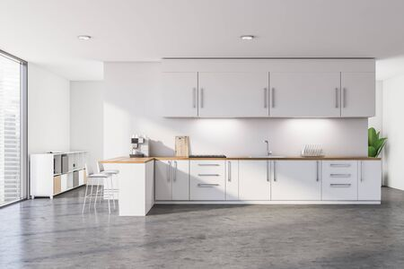 Interior of modern kitchen with white walls, concrete floor, white countertops and cupboards, bar with stools and cabinet in the background. 3d rendering Banco de Imagens