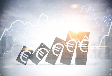 Falling bar chart with Euro signs on it over blurry cityscape background with diagrams. Concept of financial crisis and stock exchange. 3d rendering toned image double exposure