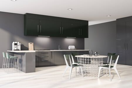 Corner of modern kitchen with gray walls, wooden floor, gray countertops, green cupboards, bar with stools and stylish round dining table with chairs. 3d rendering Banco de Imagens