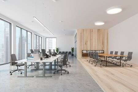 Interior of modern office with white and wooden walls, open space area with white computer tables and conference room with metal chairs. 3d rendering