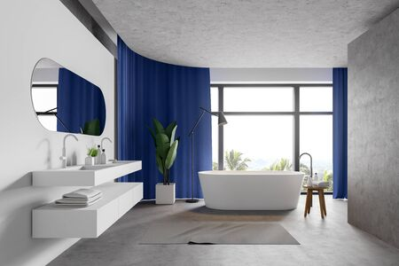 Interior of modern bathroom with white and concrete walls, panoramic window with bright curtains, white bathtub and double sink. Concept of spa. 3d rendering Reklamní fotografie