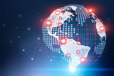 Digital hologram of Earth with double exposure of global network interface. Concept of technology and telecommunication. Toned image. Elements of this image furnished by NASA Banco de Imagens