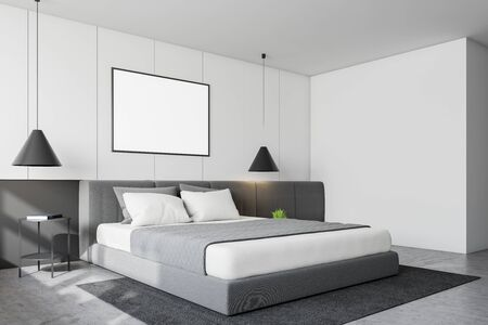 Corner of modern bedroom with white walls, concrete floor, king size bed with bedside table and horizontal mock up poster frame. 3d rendering Stok Fotoğraf