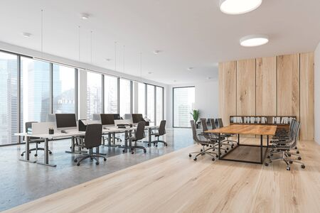 Corner of modern office with white and wooden walls, open space area with white computer tables and conference room with metal chairs. 3d rendering