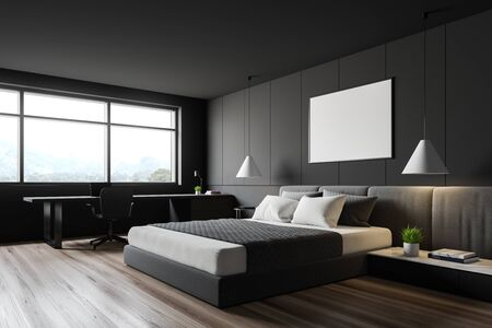 Corner of stylish bedroom with grey walls, wooden floor, king size bed with mock up poster above it and home office with laptop on table. 3d rendering Stok Fotoğraf