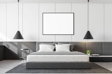 Interior of modern minimalistic bedroom with white walls, concrete floor, double bed with two bedside tables and horizontal mock up poster frame. 3d rendering Stok Fotoğraf