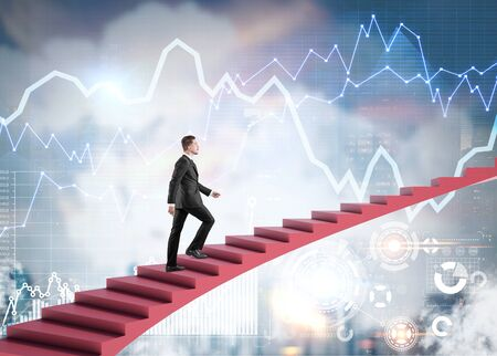 Young businessman climbing stairs to sky over blurry cityscape background with HUD interface and digital business infographics. Concept of business success and technology. Toned image double exposure Stock fotó