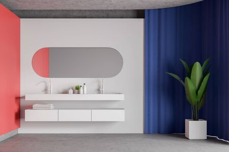 Interior of spacious bathroom with white and red walls, concrete floor, bright blue curtain and double sink with oblong mirror above it. Concept of spa. 3d rendering