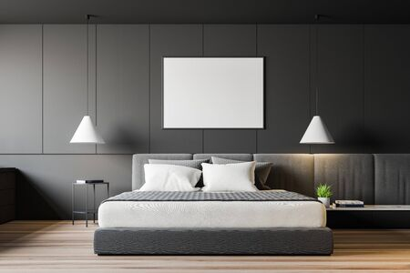 Interior of modern minimalistic bedroom with grey walls, wooden floor, double bed with two bedside tables and horizontal mock up poster frame. 3d rendering