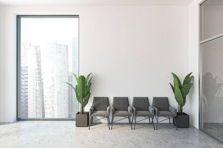 Minimalistic office waiting room interior with white walls, concrete floor, row of gray armchairs with potted plants near them and window with cityscape. 3d rendering mock up