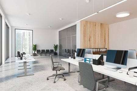 Corner of modern office with white and wooden walls, open space area with white computer tables and conference room with waiting zone in background. 3d rendering 写真素材