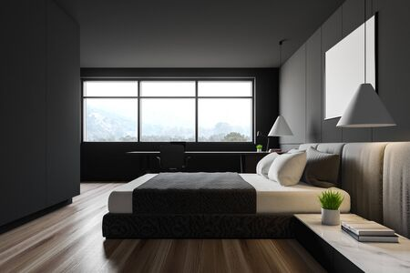 Side view of comfortable bedroom with gray walls, wooden floor, large window, king size bed and large table with laptop on it. 3d rendering