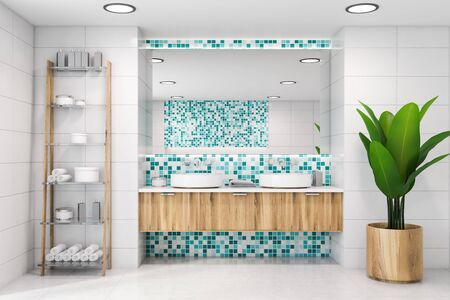 Interior of modern bathroom with white tile and blue mosaic walls, double sink with large mirror above it and shelves with towels and creams. Concept of spa. 3d rendering
