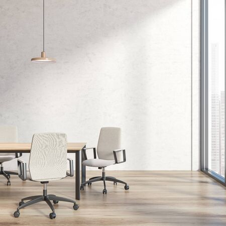 Interior of loft office meeting room with concrete walls, wooden floor, long conference table with white chairs and window with cityscape. Concept of negotiation and discussion. 3d rendering 写真素材