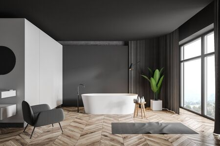 Interior of stylish bathroom with white and gray walls, wooden floor, white bathtub, grey curtains and comfortable armchair. 3d rendering 写真素材