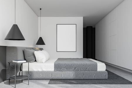 Side view of stylish bedroom with white walls, concrete floor with carpet, comfortable king size bed and vertical mock up poster frame. 3d rendering