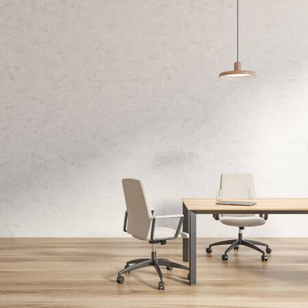 Interior of loft office meeting room with concrete walls, wooden floor, long conference table with white chairs and laptop on it. Concept of negotiation and discussion. 3d rendering 写真素材