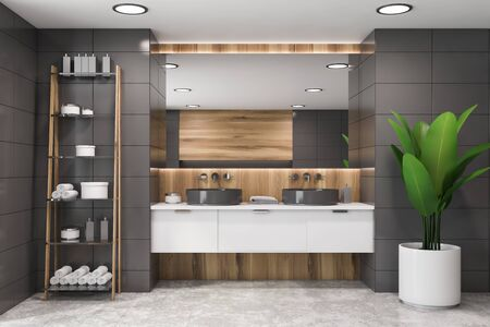 Interior of modern bathroom with gray tile and wooden walls, double sink with large mirror above it and shelves with towels and creams. Concept of spa. 3d rendering 写真素材