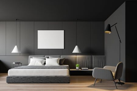 Interior of modern bedroom with grey walls, wooden floor, king size bed, comfortable gray armchair and horizontal mock up poster. 3d rendering Stok Fotoğraf